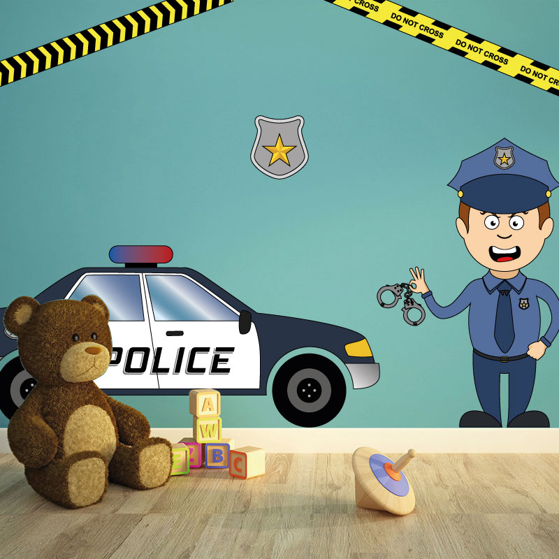 stickers police chambre enfant