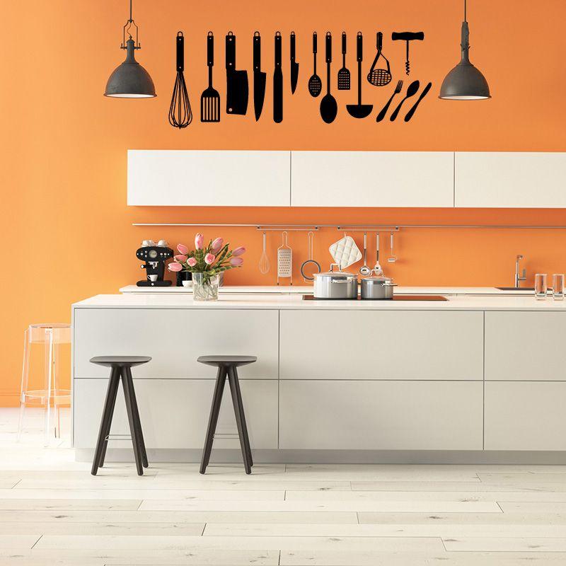 Sticker mural ustensiles de cuisine d comotif - Ustensile de cuisine commencant par p ...