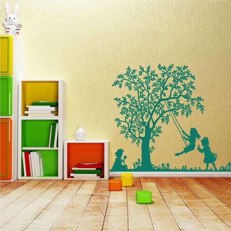 sticker mural petites filles qui jouent la balan oire d comotif. Black Bedroom Furniture Sets. Home Design Ideas