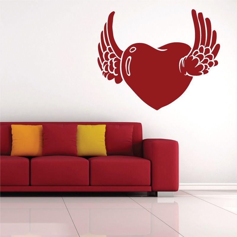 sticker mural coeur avec des ailes d comotif. Black Bedroom Furniture Sets. Home Design Ideas
