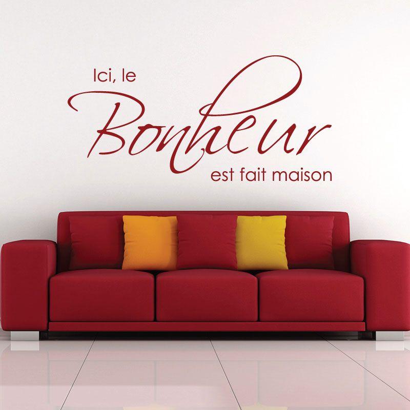 sticker mural ici le bonheur est fait maison d comotif. Black Bedroom Furniture Sets. Home Design Ideas