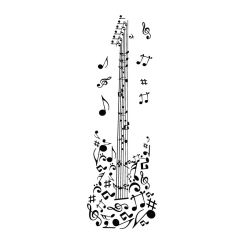 Guitare en notes de musique