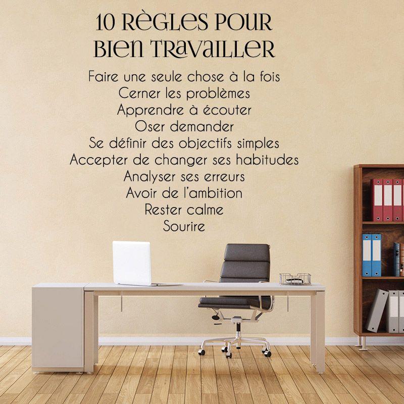 sticker mural 10 r gles pour bien travailler d comotif. Black Bedroom Furniture Sets. Home Design Ideas