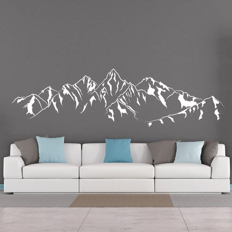 sticker mural montagnes d comotif. Black Bedroom Furniture Sets. Home Design Ideas