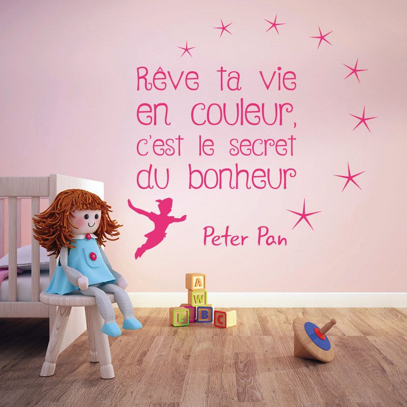 sticker mural peter pan r ve ta vie en couleur d comotif. Black Bedroom Furniture Sets. Home Design Ideas