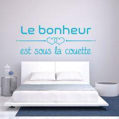 Stickers muraux t te de lit for Housse de couette le bonheur est sous la couette