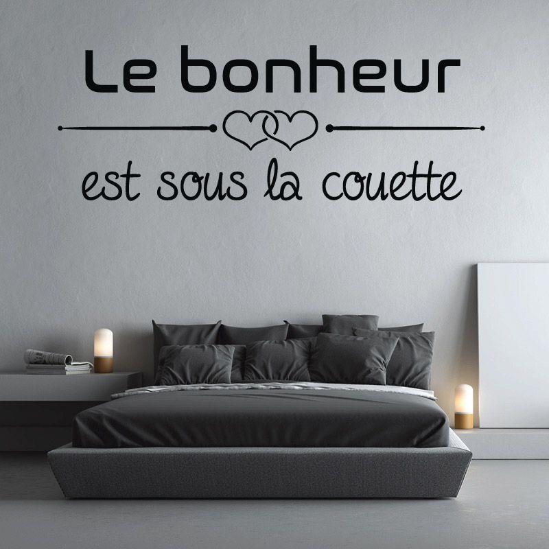 sticker mural le bonheur est sous la couette d comotif. Black Bedroom Furniture Sets. Home Design Ideas