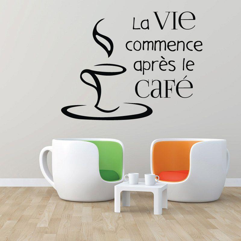 La vie commence après Tasse à Café Bean Morning Fun Autocollant Mur Art Autocollant Accueil UK