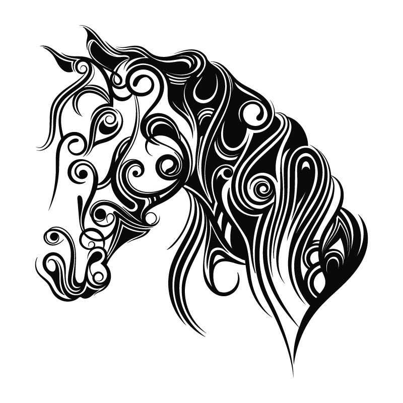 dessin cheval arabesque