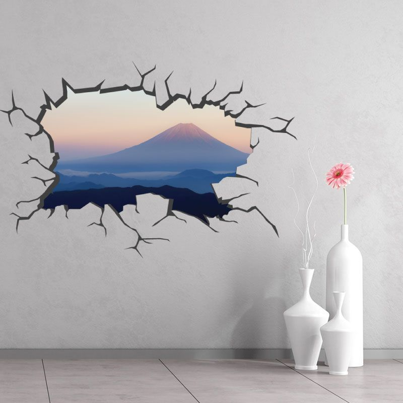 sticker mural trou donnant sur le mont fuji d comotif. Black Bedroom Furniture Sets. Home Design Ideas