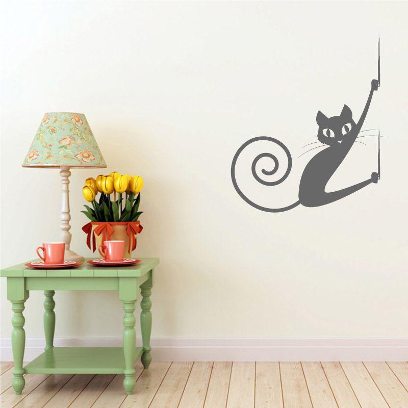 sticker mural chat qui fait ses griffes d comotif. Black Bedroom Furniture Sets. Home Design Ideas