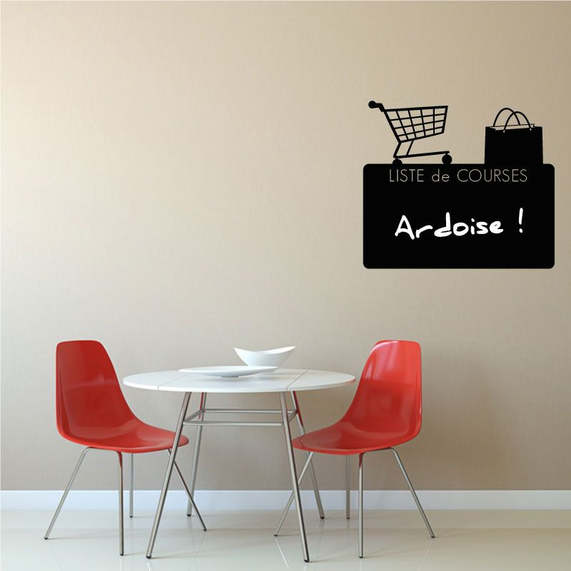 sticker mural ardoise liste de courses d comotif. Black Bedroom Furniture Sets. Home Design Ideas