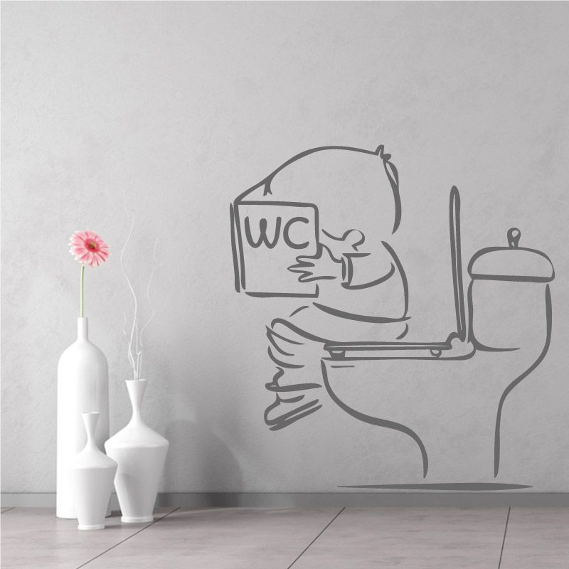 Sticker mural enfant assis sur la cuvette des toilettes for Porte wc dessin