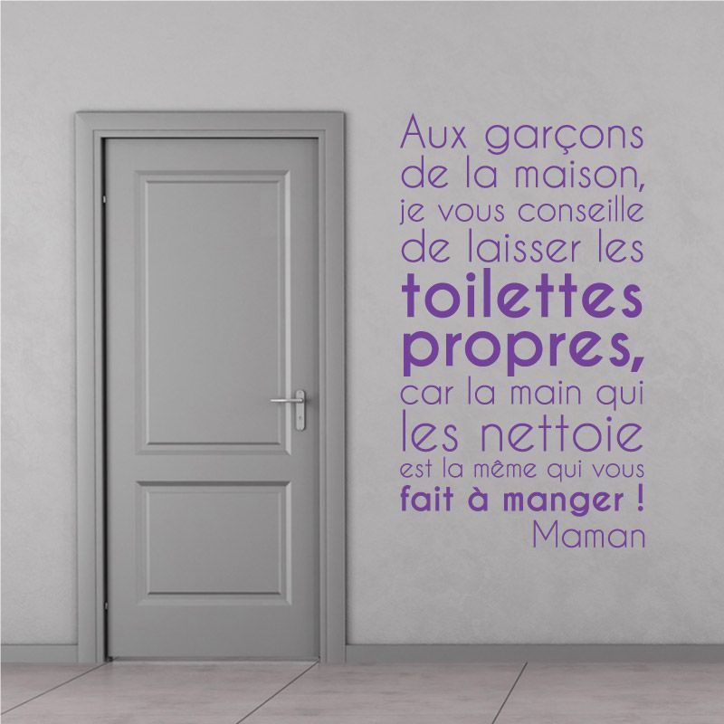 sticker mural je vous conseille de laisser les toilettes propres d comotif. Black Bedroom Furniture Sets. Home Design Ideas