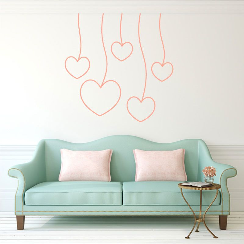 sticker mural coeurs accroch s au plafond d comotif. Black Bedroom Furniture Sets. Home Design Ideas