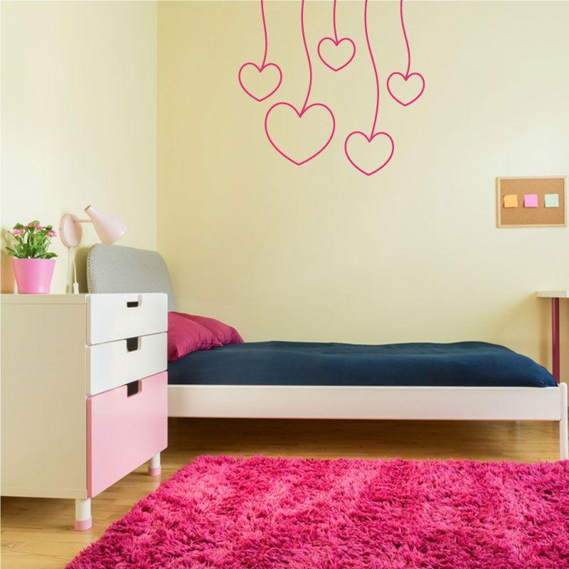 Sticker mural coeurs accroch s au plafond d comotif - Stickers pour plafond ...