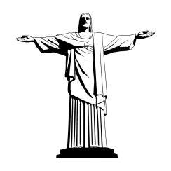 Dessin Christ Redempteur stickers muraux ville, monuments, mobilier urbain