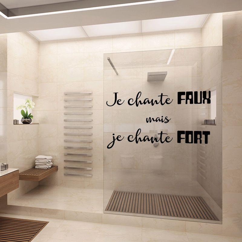 sticker mural je chante faux mais je chante fort d comotif. Black Bedroom Furniture Sets. Home Design Ideas