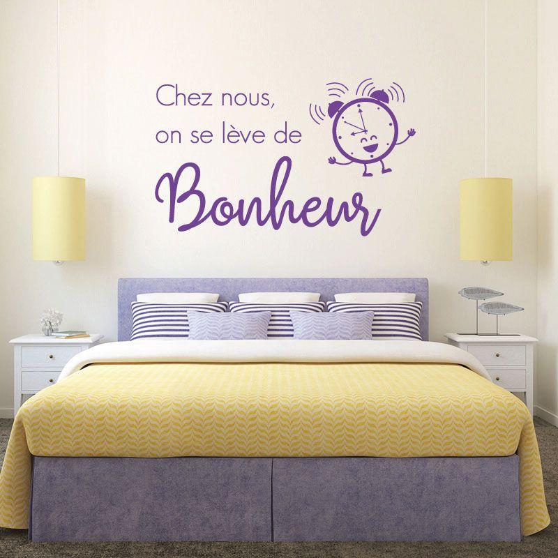 Sticker mural on se l ve de bonheur d comotif - Mal de tete au lever du lit ...